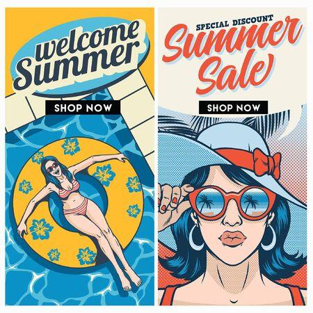 summer sale flyer design duo Illustration