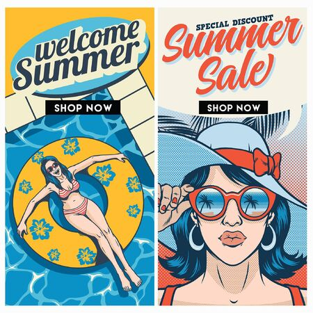 summer sale flyer design duo 向量圖像