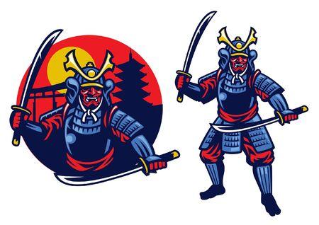 Samurai-Krieger-Maskottchen im Set mit Abzeichen Vektorgrafik