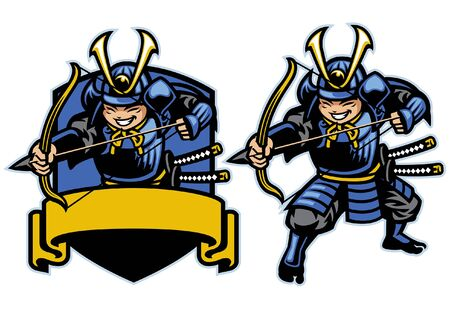 set cartoon samurai archery warrior mascot 向量圖像