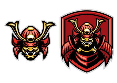 set of samurai warrior badge mascot