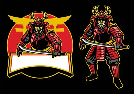 set of samurai warrior mascot