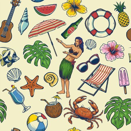 seamless pattern of colorful vintage pattern of summer beach