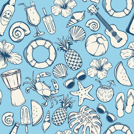 seamless pattern of vintage nautical beach design