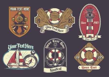 bundle set vintage of nautical badge