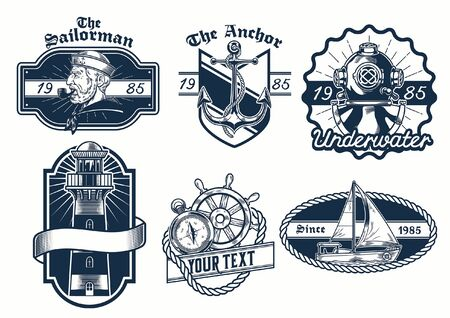 bundle set of nautical badge design