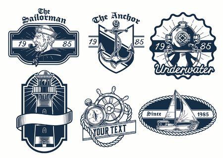 paquete conjunto de diseño de insignia náutica Ilustración de vector