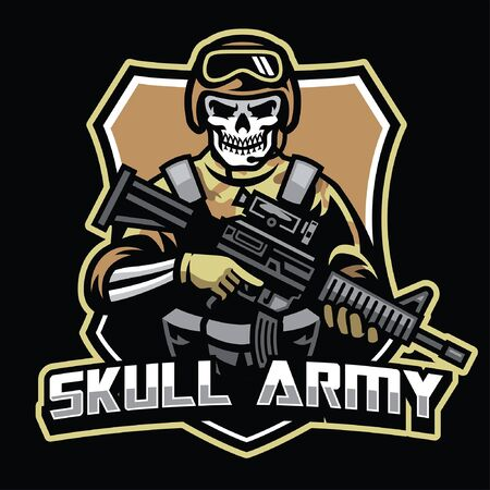 skull soldier army badge design
