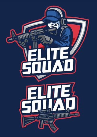 set of mascot elite squad military design 矢量图像