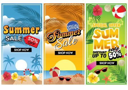 set of summer sale beach flyer design