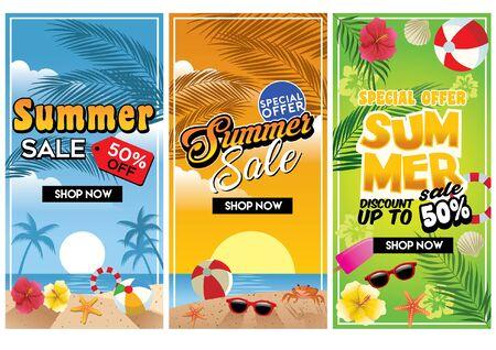 set of summer sale beach flyer design