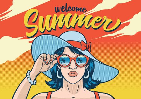welcome summer design with trendy girl in 80s style