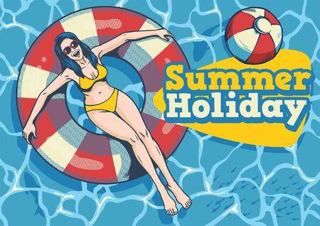 girl on pool float enjoying summer season Illustration