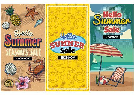 set of summer holiday beach design