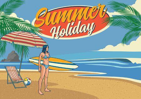 summer holiday beach vintage design