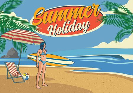 summer holiday beach vintage design