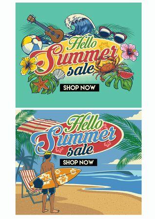 set of summer sale design