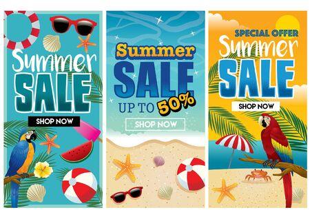 drie zomer flyer ontwerp Vector Illustratie