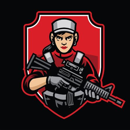 woman military badge design