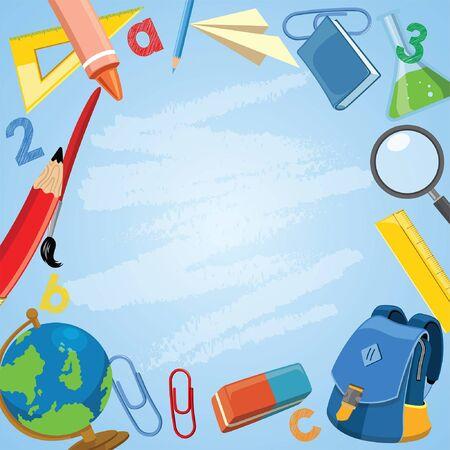 fournitures scolaires de dessin animé dans la conception de cadrage Vecteurs