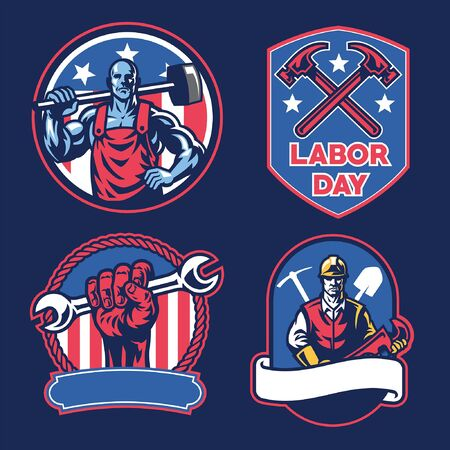 set bundle of labor day Иллюстрация