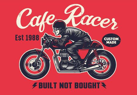 cafe racer motorcycle t-shirt design Vettoriali