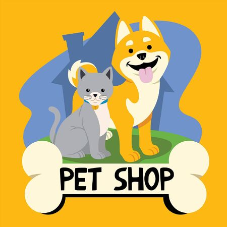 pet shop cartoon with cat and dog