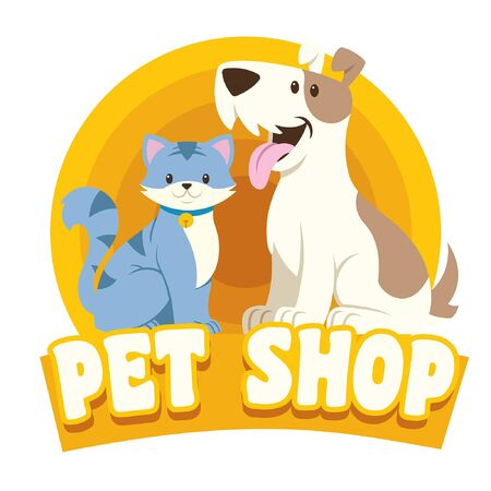 pet shop design with cat and dog cartoon character Illustration