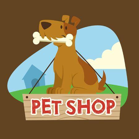 pet shop design with dog hold the bone cartoon character Ilustracja
