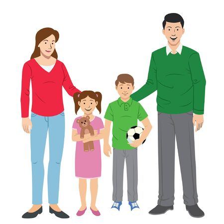 happy family cartoon character with two kids Stock Illustratie