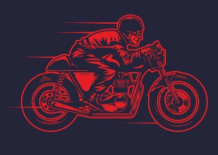 man riding vintage cafe racer motorcycle design