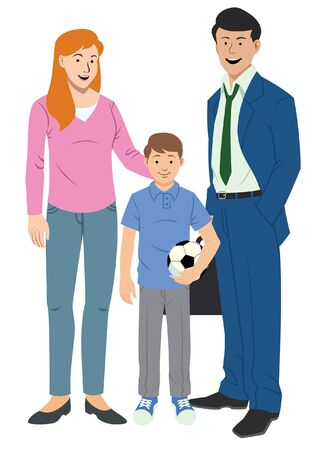 happy family cartoon character Stock Illustratie
