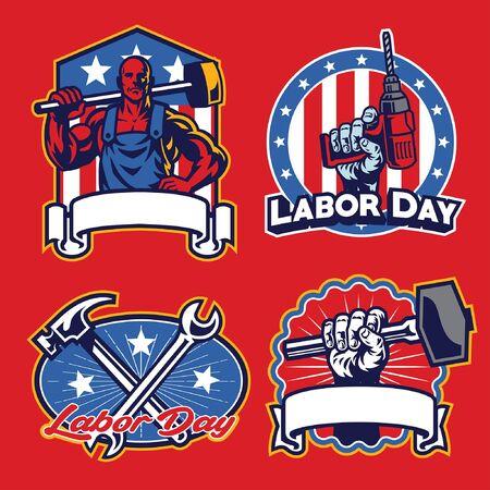 set bundle of labor day badge Illustration