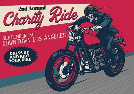 vintage poster design of old retro motorcycle Illustration