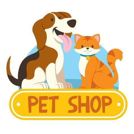 pet shop design with cat and dog Ilustracja