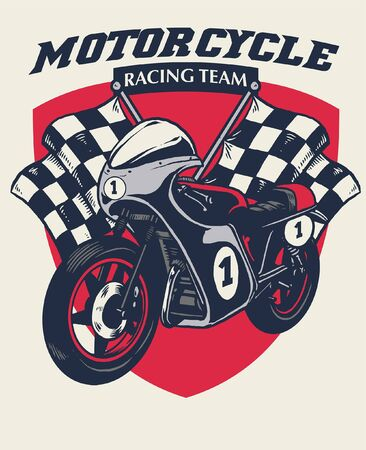 t-shirt design of vintage racing motorcycle