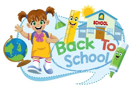 back to school design with happy girl and school objects Standard-Bild - 133882930