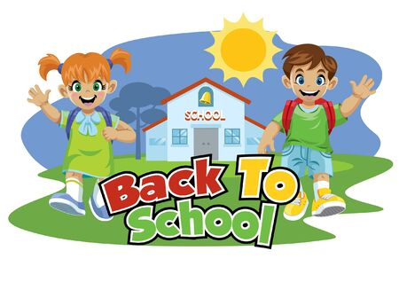 back to school design with couple of student