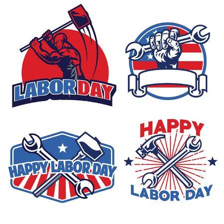 set of bundle labor day design Ilustración de vector