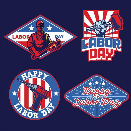 set bundle of labor day badge Иллюстрация
