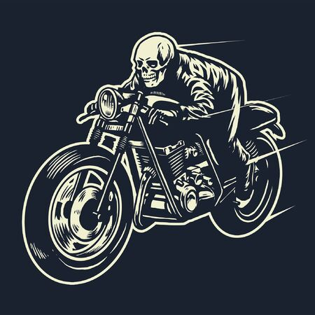 skull riding cafe racer