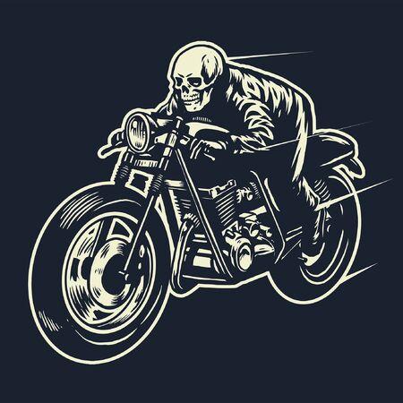 skull riding cafe racer