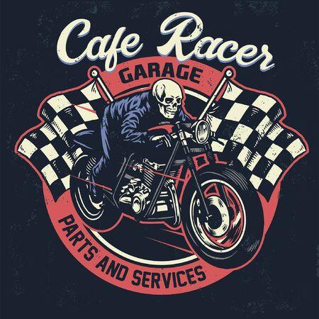 cafe racer vintage t-shirt design Illustration