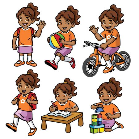 set of little girl with various activities