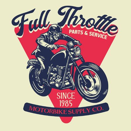 t-shirt design of motorcycle concept with vintage style