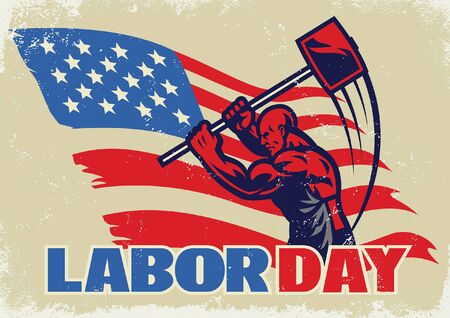 labor swinging sledge hammer with american flag background