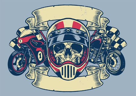 vintage t-shirt design of skull motorcycle rider