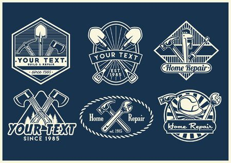 set bundle of labor badge design