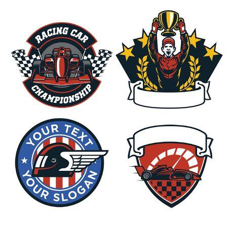 racing car badge set