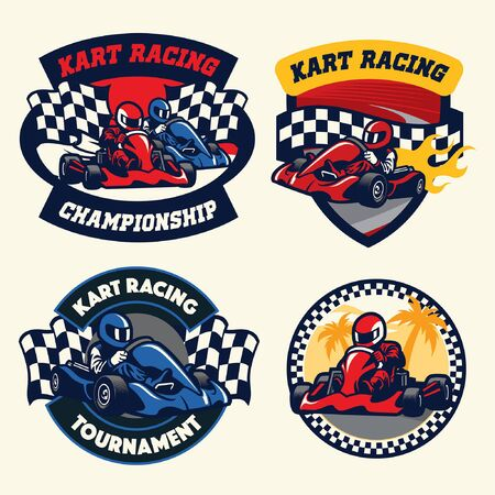 vector set of bundle racing kart badge